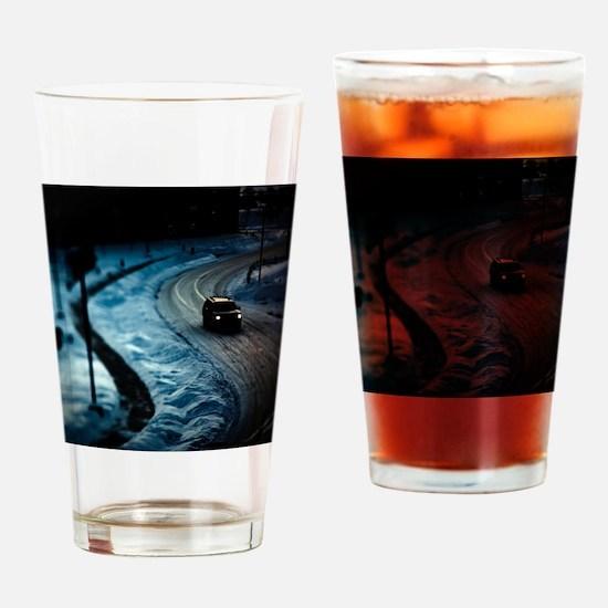 spooky dark SUV winter scene Drinking Glass