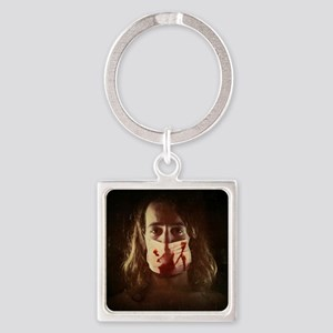 young guy with bloody surgical mas Square Keychain