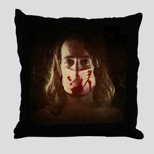 young guy with bloody surgical mask Throw Pillow