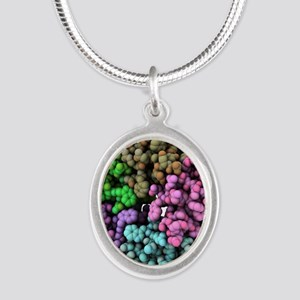 Shiga-like toxin I subunit mo Silver Oval Necklace