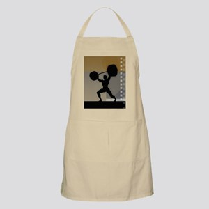 Man lifting weights,silhouette (Digital) Apron