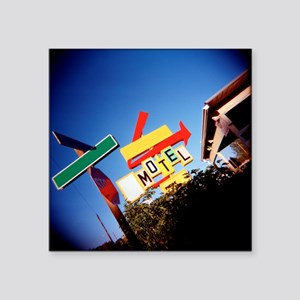 "Motel Sign, Retro, Exterior Square Sticker 3"" x 3"""
