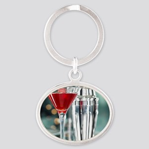 Red Martini Oval Keychain