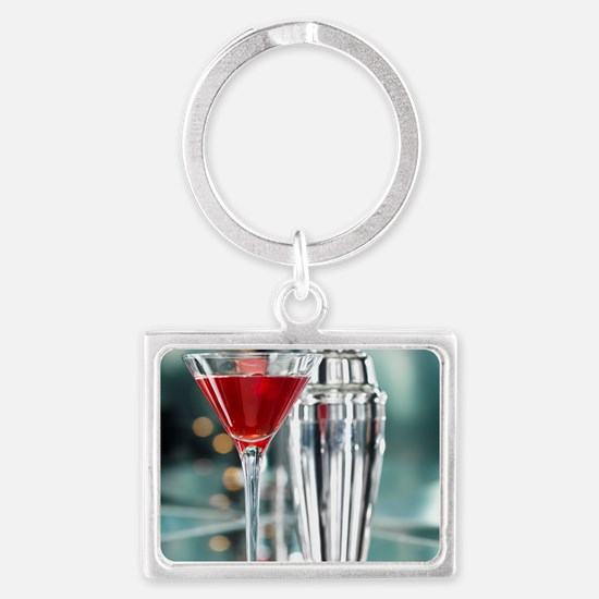 Red Martini Landscape Keychain