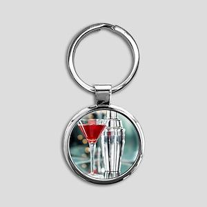 Red Martini Round Keychain