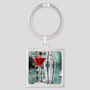 Red Martini Square Keychain