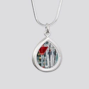 Red Martini Silver Teardrop Necklace