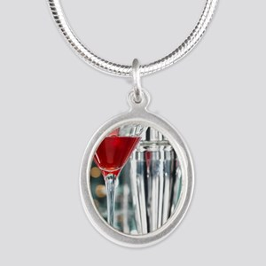 Red Martini Silver Oval Necklace