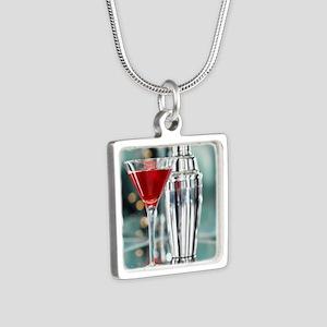 Red Martini Silver Square Necklace