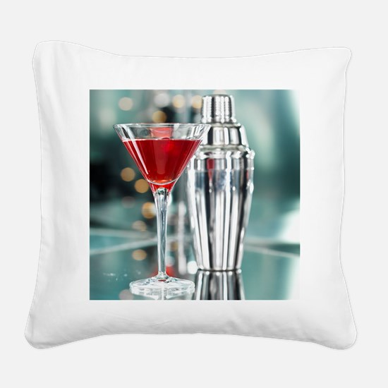 Red Martini Square Canvas Pillow