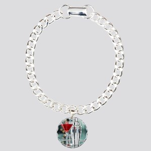 Red Martini Charm Bracelet, One Charm