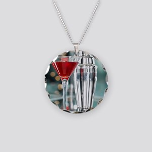 Red Martini Necklace Circle Charm