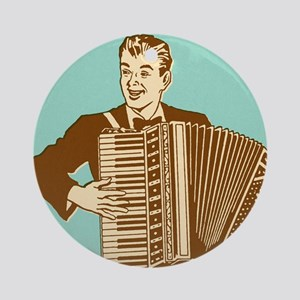 Man Playing Accordian Round Ornament
