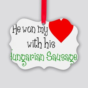 Won My Heart Hungarian Sausage Picture Ornament