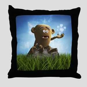 lonely teddy monster Throw Pillow