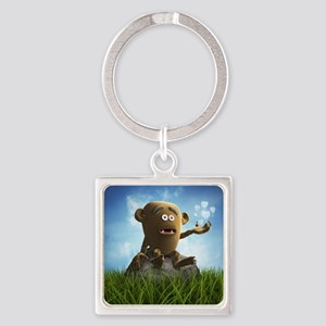 lonely teddy monster Square Keychain