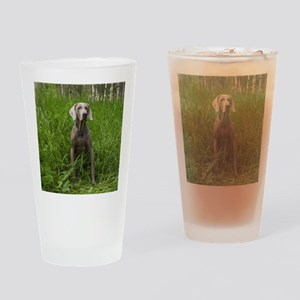 Portrait of Dog Drinking Glass