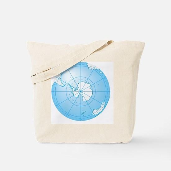 Illustration of Antarctica on globe Tote Bag