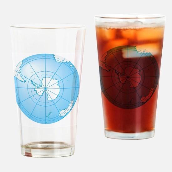 Illustration of Antarctica on globe Drinking Glass