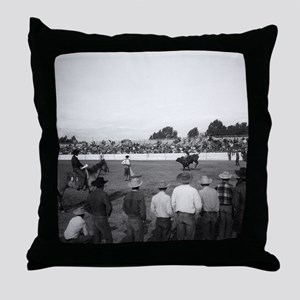 People watching a rodeo Throw Pillow