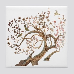 A cherry blossom tree with birds Tile Coaster