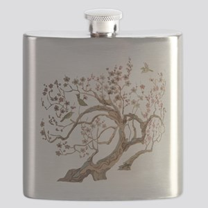 A cherry blossom tree with birds Flask