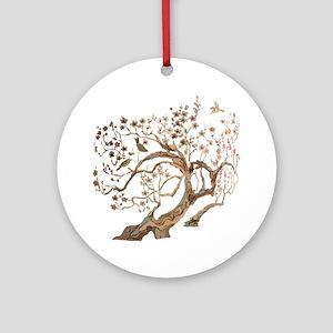 A cherry blossom tree with birds Round Ornament