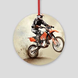 Man on his sport motor Round Ornament