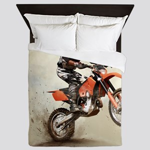 Man on his sport motor Queen Duvet