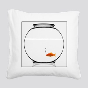 Goldfish in bowl Square Canvas Pillow