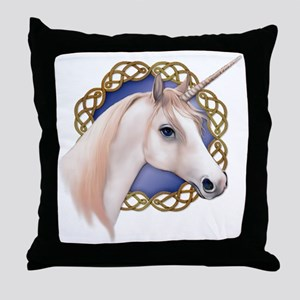 An illustration of a Unicorn with a C Throw Pillow