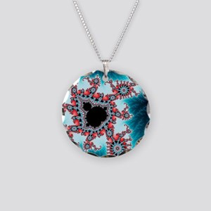 Mandelbrot fractal. Computer Necklace Circle Charm