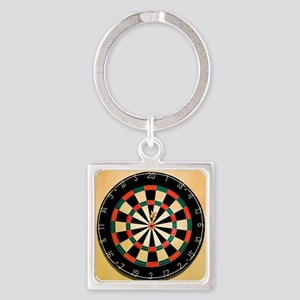 Dart in Bull's Eye on Dart Board Square Keychain