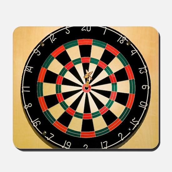 Dart in Bull's Eye on Dart Board Mousepad