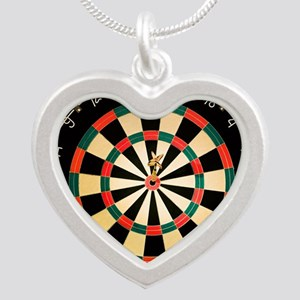 Dart in Bull's Eye on Dart B Silver Heart Necklace