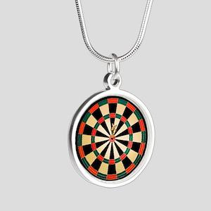 Dart in Bull's Eye on Dart B Silver Round Necklace