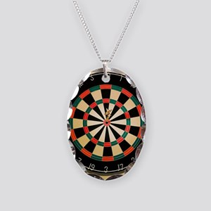 Dart in Bull's Eye on Dart Boa Necklace Oval Charm