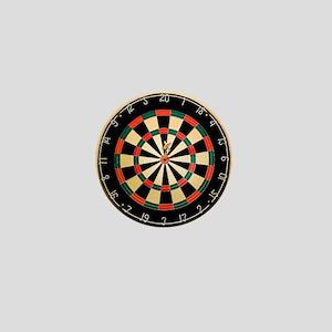 Dart in Bull's Eye on Dart Board Mini Button