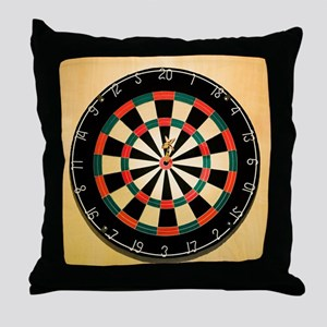 Dart in Bull's Eye on Dart Board Throw Pillow