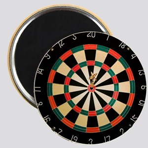 Dart in Bull's Eye on Dart Board Magnet