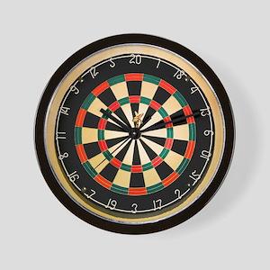Dart in Bull's Eye on Dart Board Wall Clock