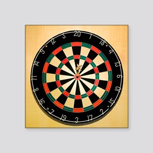 "Dart in Bull's Eye on Dart  Square Sticker 3"" x 3"""
