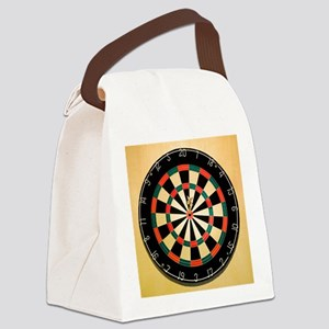 Dart in Bull's Eye on Dart Board Canvas Lunch Bag