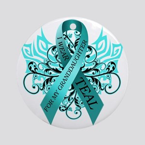 I Wear Teal Round Ornament