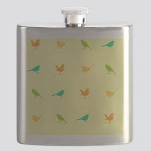 A fun and colorful repeat design of birds on Flask