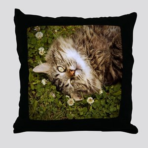 A brown long-haired tabby cat laying  Throw Pillow