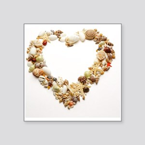 "Assorted seashells form hea Square Sticker 3"" x 3"""
