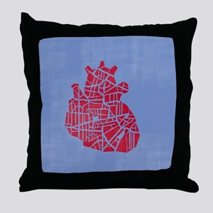 A heart on a blue background Throw Pillow