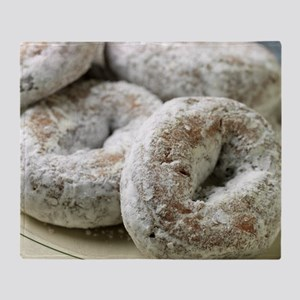 A plate of sugar donuts Throw Blanket