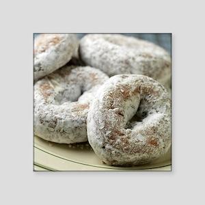 "A plate of sugar donuts Square Sticker 3"" x 3"""